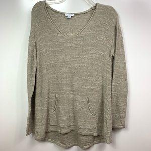 PUREJILL J Jill sweater v neck popover oatmeal tan